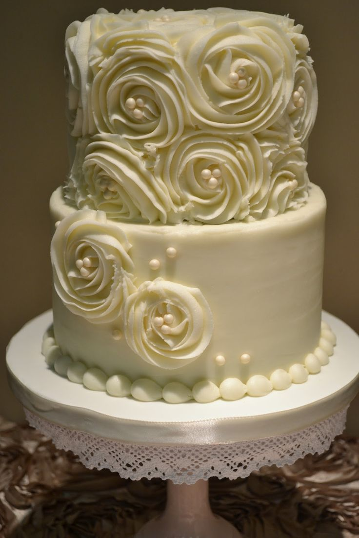 Sweet Cakes by Rebecca: Two-Tier Rosettes and Pearls Wedding Cake