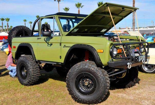 Olive green classic ford bronco