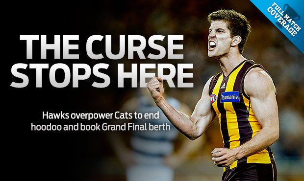 The Curse Stops Here - Hawks finally beat Geelong to advance to the 2013 Grand Final.