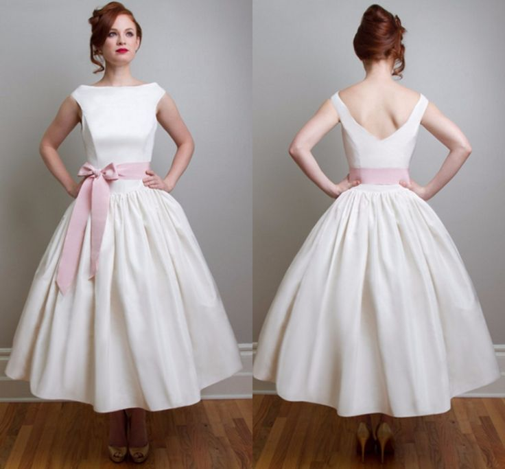 Aliexpress.com : Buy Vintage 1950's Style Tea Length Wedding Dresses with Pink Ribbon Sash V back Vestido de novia Boat Neck Simple Bridal Gown JA628 from Reliable Wedding Dresses suppliers on Love_dresses | Alibaba Group