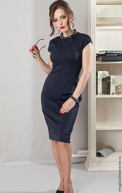 Платья ручной работы. Ярмарка Мастеров - ручная работа. Купить Forta blue. Handmade. Тёмно-синий, офис, авторское платье