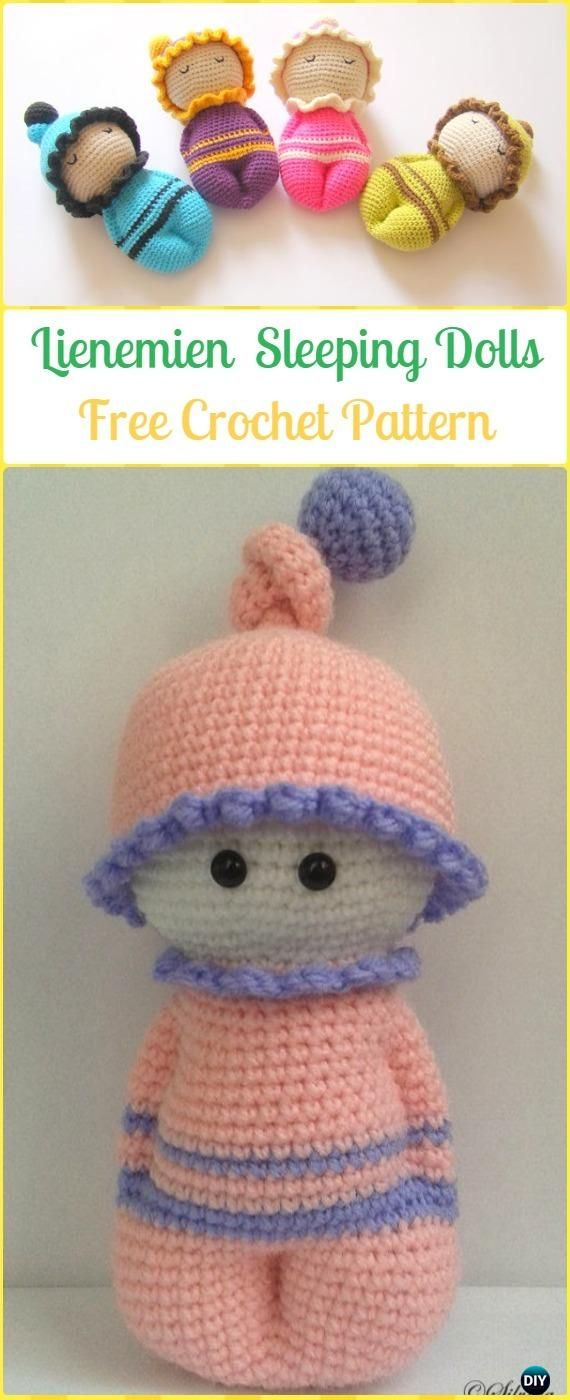 Crochet Lienemien Sleeping Dolls Free Pattern - Crochet Doll Toys Free Patterns