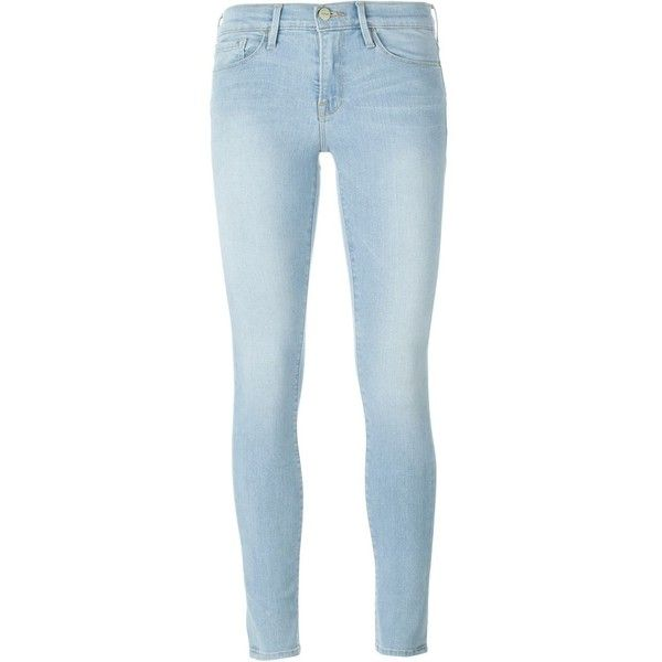 Frame Denim light wash skinny jeans ($120) ❤ liked on Polyvore featuring jeans, pants, bottoms, calças, denim, blue, blue jeans, denim skinny jeans, skinny fit jeans and cut skinny jeans