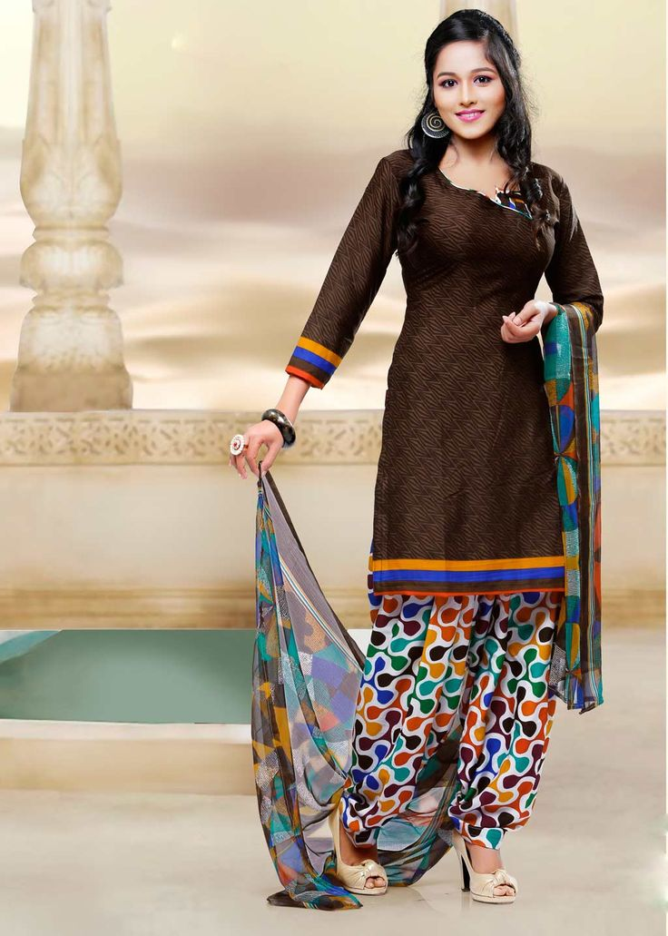 Brown Crepe Silk Patiala Suit 58791
