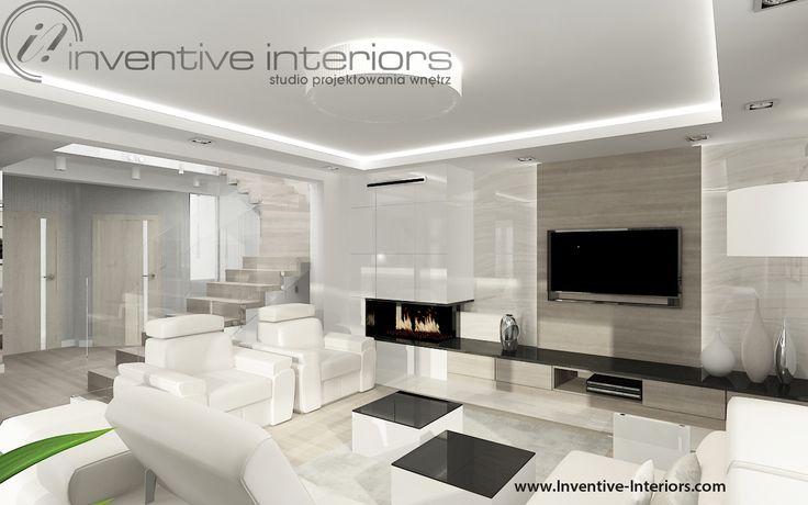 Projekt salonu Inventive Interiors - beż w salonie - drewno na ścianie TV