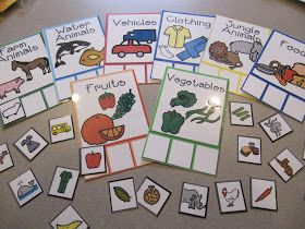 Teaching Categories to children. Great for language development. Has a link for free download of boards and pictures.