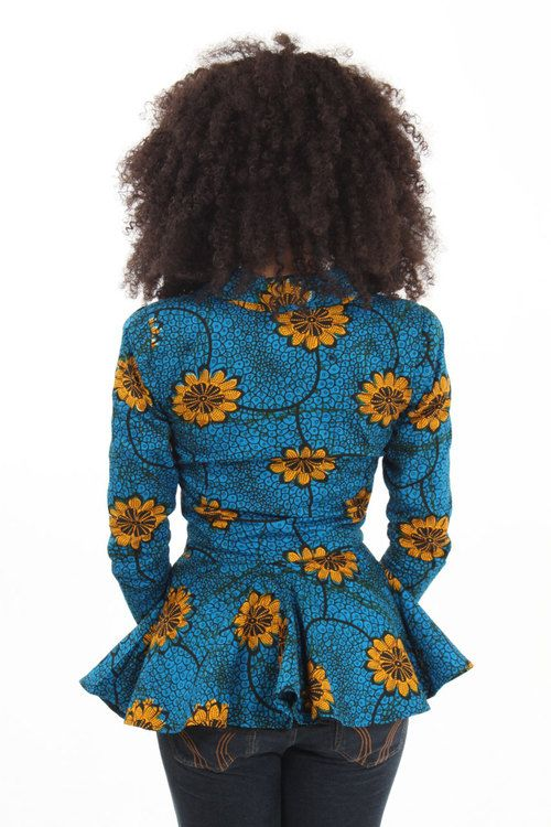 Gorgeous African print jacket - blue with sunflowers.