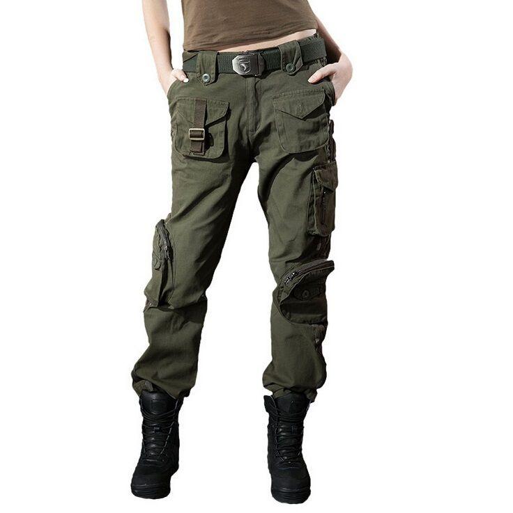 Nuevas mujeres pantalones Cargo pantalones casuales pantalones de camuflaje pantalones para mujeres ejército verde pantalones bolsillos decoración del camuflaje del pantalón(China (Mainland))