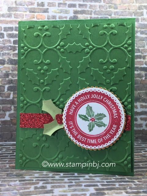 Check out what is on special for this Holly Jolly card. #stampinbj.com