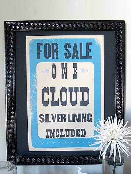 Cloud For Sale Letterpress Poster