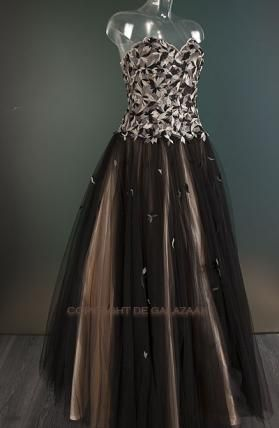 Feestjurk met tule rok  in bruin-tinten 2314