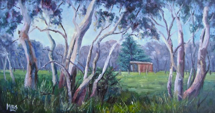'Day 10 Rail Trail Gum Trees in Spring' It's interesting to contrast how my favourite Rail Trail gums look in Spring to the corresponding paintings done in Autumn. There's a lot of lush green grass following the winter rains. (Dry yellow grass in Autumn) I was feeling a little ambitious today, (probably due to the nice weather), and painted a size quite a bit larger than my usual plein air paintings, I wasn't sure if I'd manage it but I was quite happy with the end result.