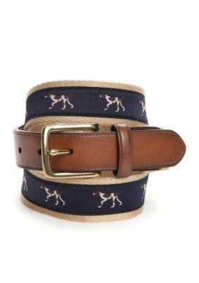 Saddlebred Men's Novelty Pointer Dog Belt - Khaki - 44