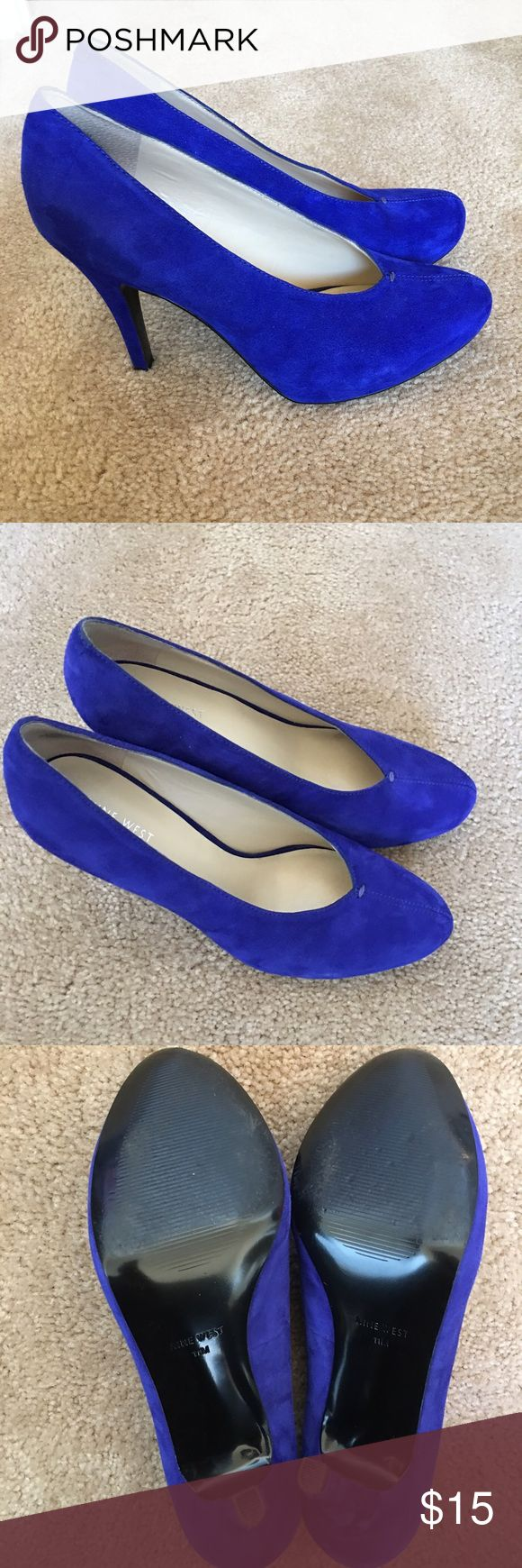 "Nine West Blue Suede Rounded Toe Pump Beautiful blue suede pump. Encased platform. 4"" Heel. Rounded Toe makes long feet look small👍🏾 Worn twice. Nine West Shoes Heels"