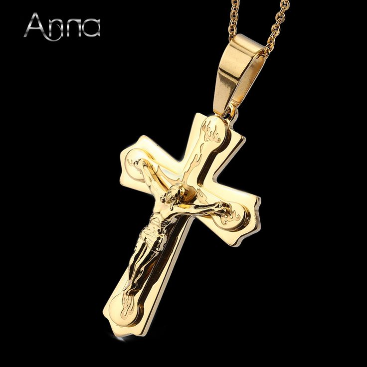 A&N Women Necklace Pendant Brand Necklace With Chain Gold Plated Jewelry Antique Cross Crucifix Jesus Cross Pendant Necklace