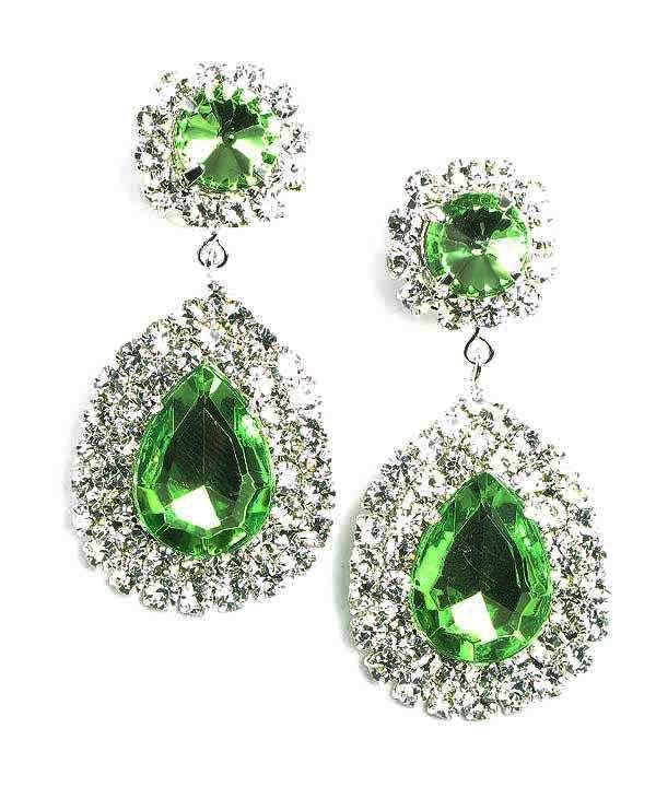 Pale green diamante teardrop earrings (available in other colours) from WWW.GlitzyGlamour.co.uk