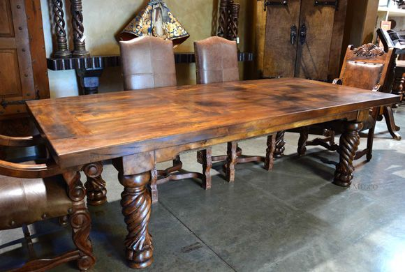 In the style of a Mediterranean dining table, the Mesa Indonesia is a dining table made from solid mesquite wood. With a smooth top and carved turned legs.