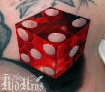 Nice Red Dice Tattoo
