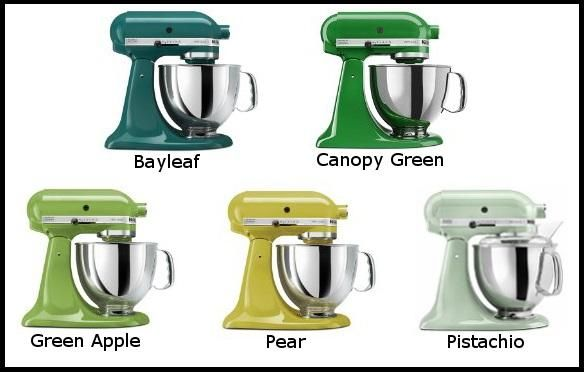Five different tones of green Kitchenaid Mixers I love that they come in a color for everyone. I think everyone should own at least one. They are amazing.
