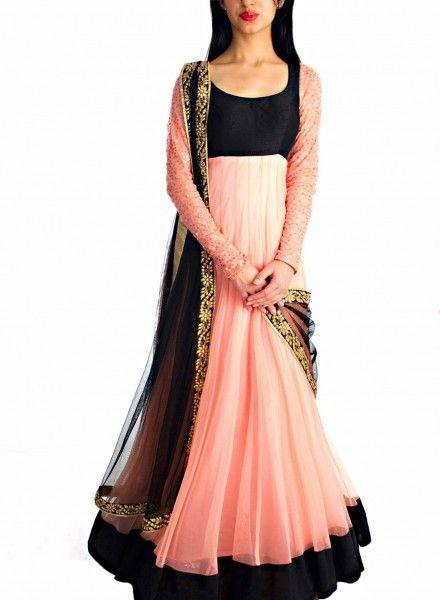 Pink Net Anarkali Suit . Shop at - http://www.gravity-fashion.com/pink-net-anarkali-suit.html