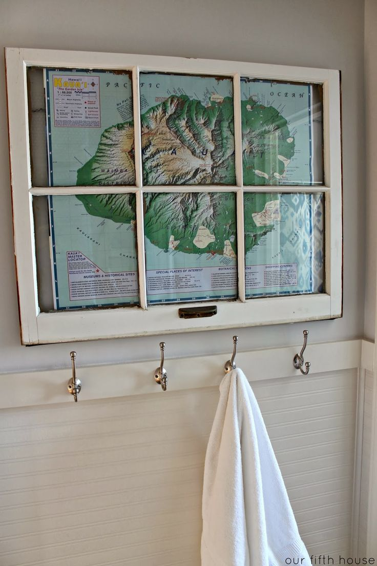 using an old window frame as a picture frame