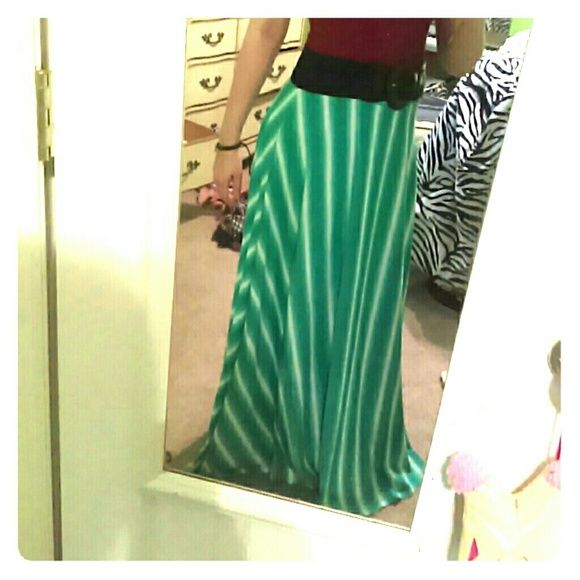 Long skirt LOVELY and SOFT green and white long skirt! ?? Very flowy and graceful! Worn one time only!! Cato Skirts Maxi