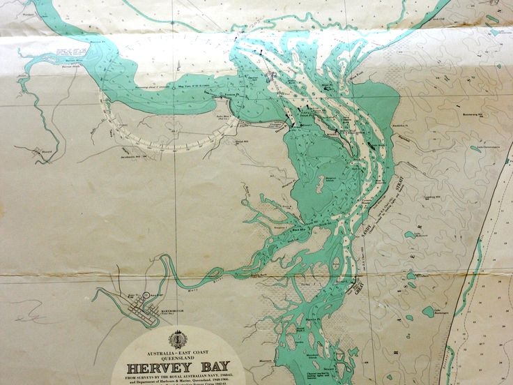 Hervey Bay & Fraser Island vintage nautical chart at coastal vintage
