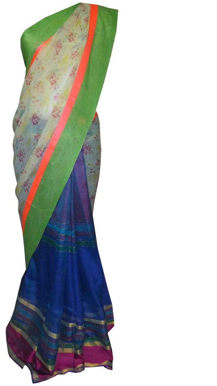 #neon hues added with a nice #floral #chiffon and silk kota #saree tahneebytanushree@gmail.com
