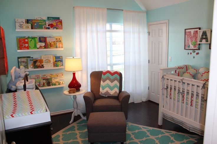 Can't get enough of this #chevron throw over the glider.: Chevron Quilts, Bookshelves, Baby Boys Nurseries, Boys Rooms, Book Wall, Book Shelves, Projects Nurseries, Nurseries Ideas, Blue Nurseries