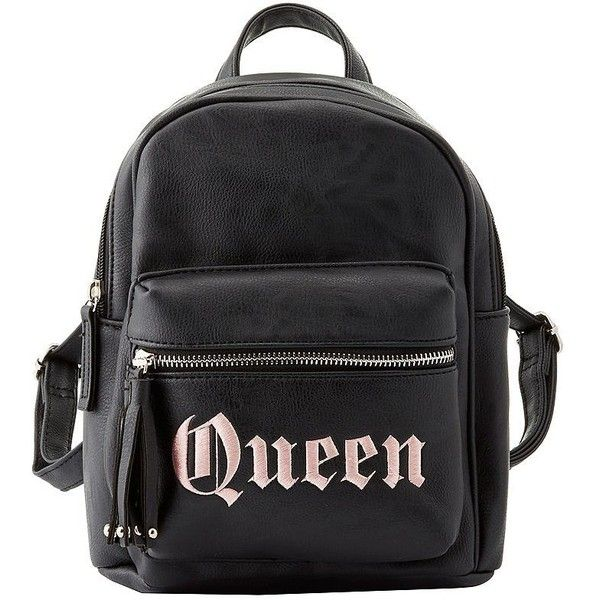 Charlotte Russe Queen Faux Leather Backpack found on Polyvore featuring bags, backpacks, black, fake leather backpack, faux leather rucksack, faux leather bag, vegan leather bags and vegan bags