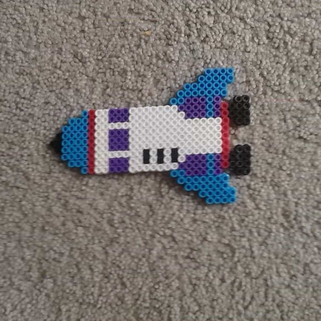 Space rocket perler beads by l_a_perler_beads
