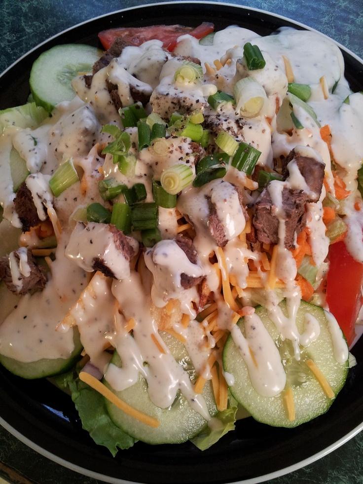 Steak Salad *Make basic salad however you like it. •Top with french ...