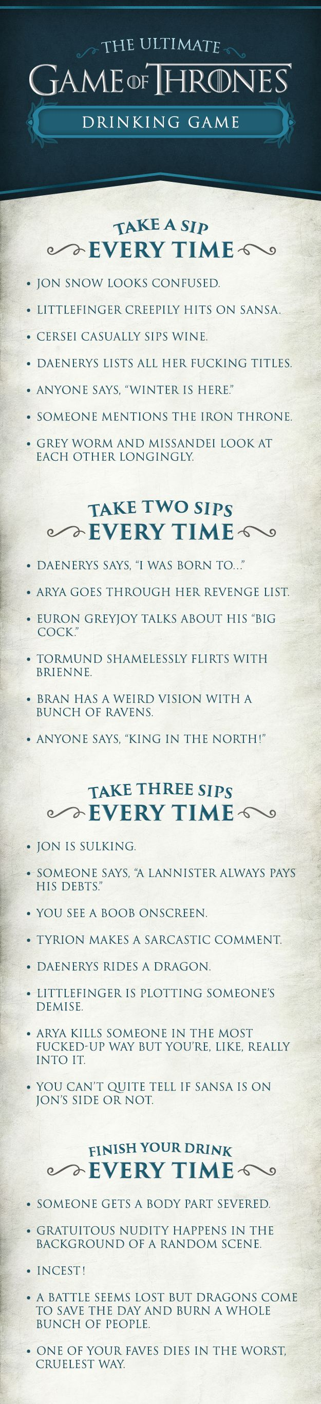"Here's How To Play The Ultimate ""Game Of Thrones"" Drinking Game"