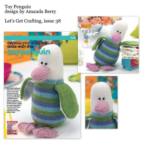 Cute penguin toy knitting pattern design by Amanda Berry for Let's Get Crafting Magazine