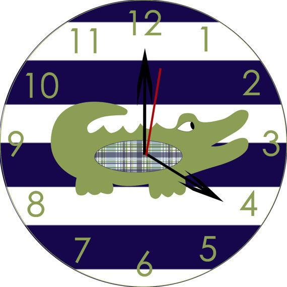 Alligator nursery clock/ wooden alligator clock by TheWoodenOwl, $42.99