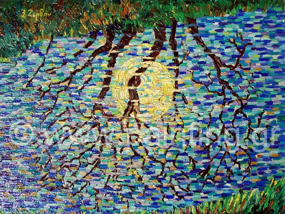 Rillet with moon Originaloil on by ORIGINALsPAINTINGS on Etsy, €380.00
