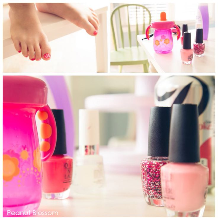 Little girl's first toenail polish: we love these Minnie Mouse colors by OPI!