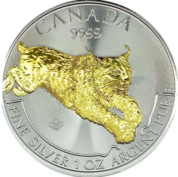Canada - 5 CAD - Predator Lynx 2017 - tweede editie - 999 zilveren munten met 24 karat gold edition  1 royal Canadian Mint - Predator serie - Lynx 2017  24 karat gold edition999/1000 fijne zilveren munt 31.1 gramHet is de tweede editie van de Wildlife Predator-serie door de Royal Canadian Mint.Mooi en fijn gedetailleerd is de Lynx met 24 karat gold plated.Wereldwijd limited edition van slechts 5.000 stuks elk!Individuele objectbeschrijving:Fabrikant: Koninklijke Canadese muntFijne gewicht…