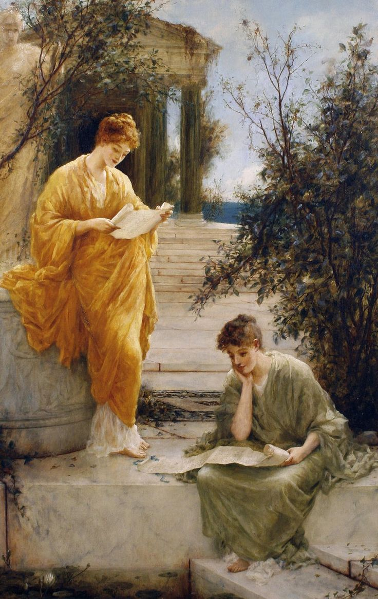 Classical women reading by a temple (1889). Henry Thomas Schäfer (British, 1854-1915). Oil on canvas.