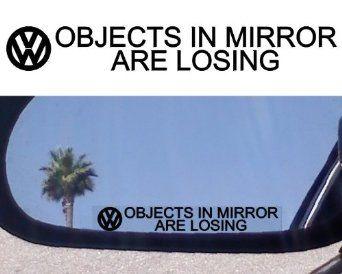 Amazon.com: (2) Mirror Decals for VW PHAETON JETTA TDI ROUTAN KARMANN GHIA TOUAREG PASSAT GTI TURBO VR6 GOLF TEIN BEETLE GLS Volkswagen Rabb...