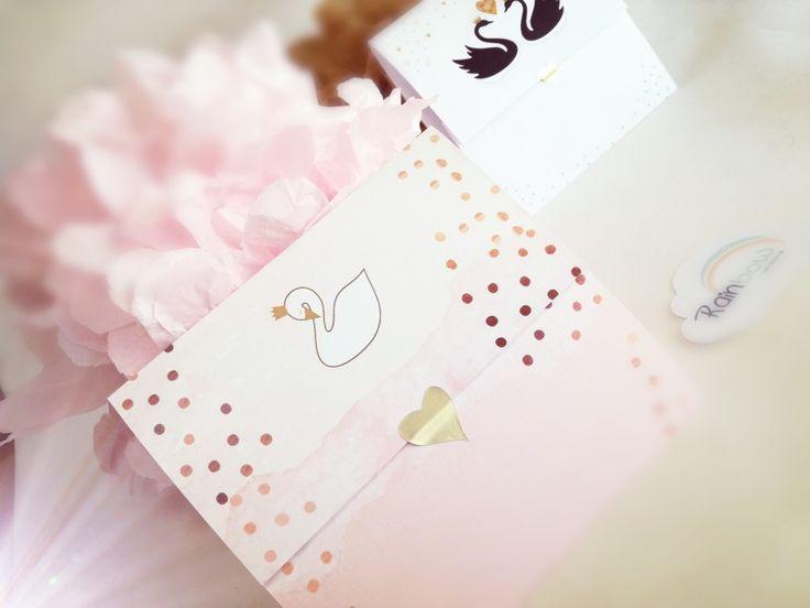 Pink Gold Swan invitation