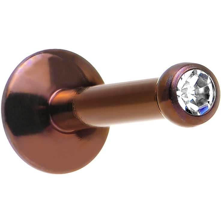 """14 Gauge 5/16"""" Clear Gem Bronze Anodized Titanium Labret Monroe 2.5mm"""
