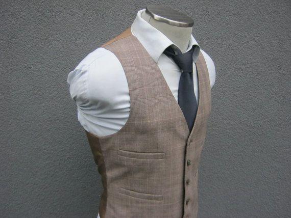 1950s Vintage Glen Plaid Wool Blend Brown Vest / by BudeVintage
