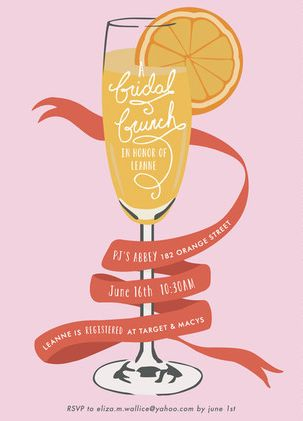 Bridal Shower Invitation Idea:  Cheers! This brunch is all about the bride, baby! So grab those glasses and get ready to pop the champagne in style! See 21 more invite ideas here: http://www.confettidaydreams.com/bridal-shower-invitation-ideas/