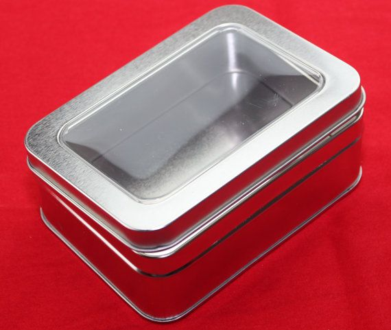 """NEW Empty 21oz Large Rectangular Blank Metal Tin Clear Plastic Hinged Lid Container Crafts Beads Display 5-5/8"""" x 4-1/4"""" x 2-1/8"""" deep (V)"""