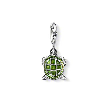 "THOMAS SABO Charm pendant ""turtle"" with lobster clasp, 925 Sterling silver, blackened  green and black-enamelled. The tortoise reminds us of beautiful holidays and makes us long for our next vacation. Size: 1.5 cm"