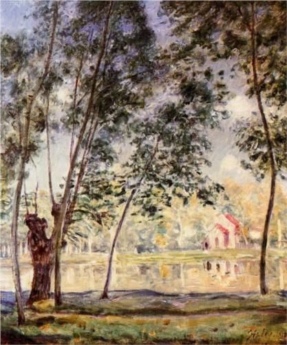 Sunny Afternoon Willows by the Loing - Alfred Sisley,,1890, Impressionism