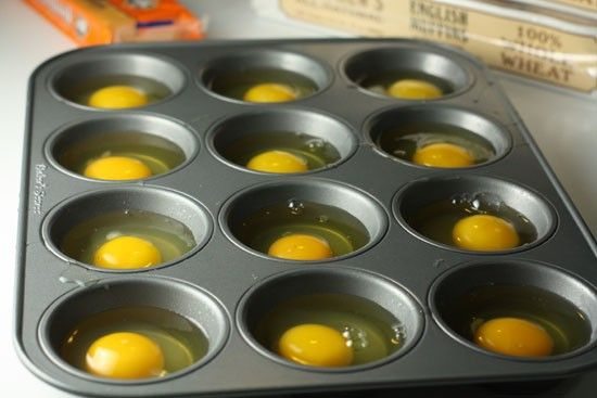 Great idea for brunch..lightly spray muffin tin with Pam & put egg in tinake @ 350 for about 10-15 min.  Toast English muffins, add cheese &   top with egg.. you can add bacon or ham also.  Individual egg mcmuffins for a large crowd...
