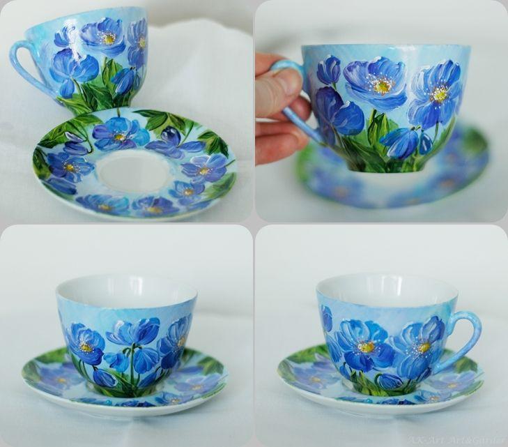 Ręcznie malowana filiżanka - mekonopsy Hand painted cup with welsh poppies (Meconopsis) Handbemalte Tasse mit blaue Mohnen