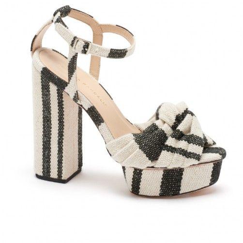 Loeffler Randall black and white canvas platform sandal
